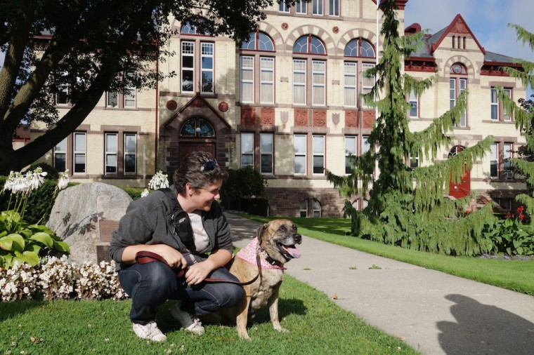 Jody and Grace outside Perth County Court House