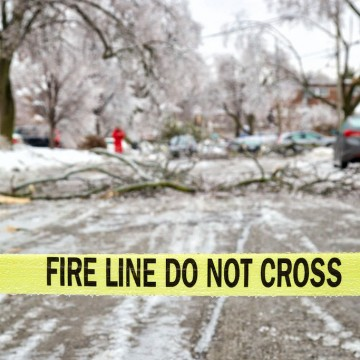Caution tape and storm damage